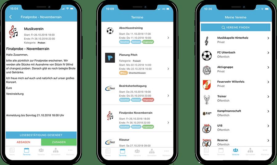 Funktionen der mobilen Vereinsplaner App
