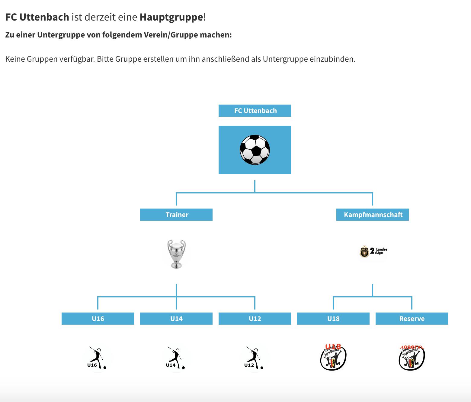 Vereinsstruktur eine Fußballvereins mit Vereinsplaner abgebildet