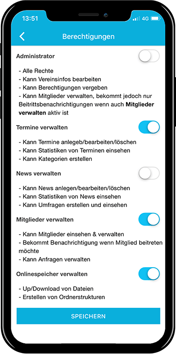 Berechtigung individuell vergeben in der mobilen App von Vereinsplaner