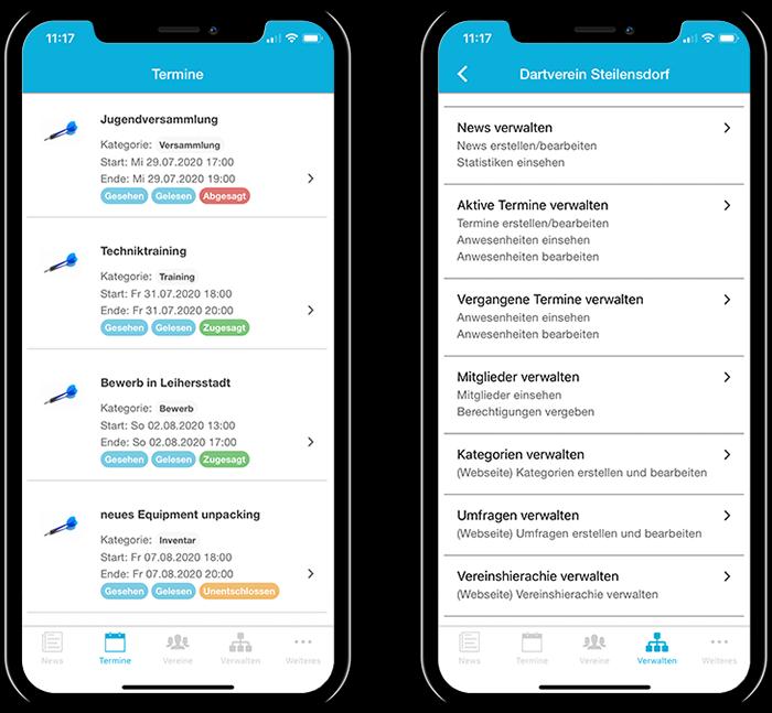 Übersicht der Termine eines Dartvereins und der gesamten Funktionen in der mobilen App