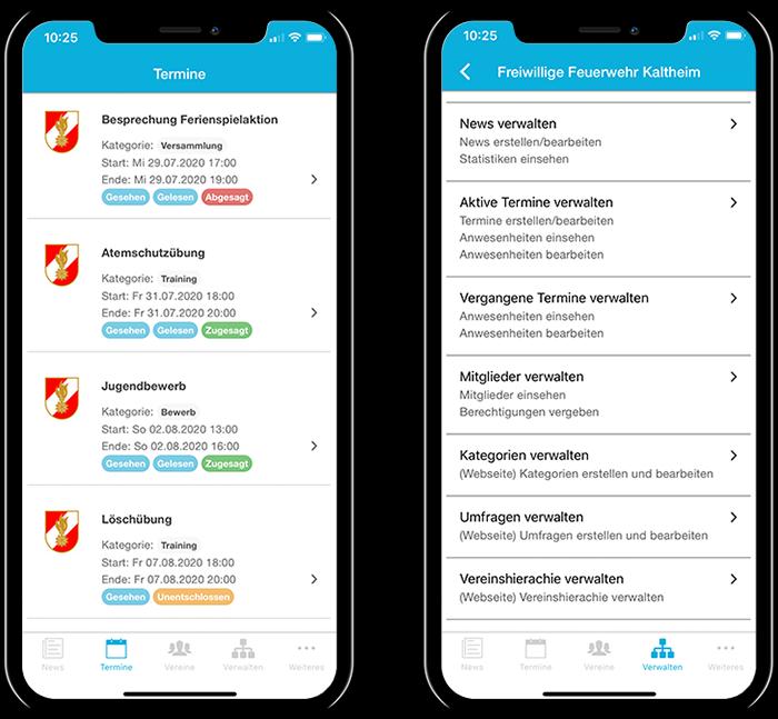 Übersicht der Termine einer Feuerwehr und der gesamten Funktionen in der mobilen App