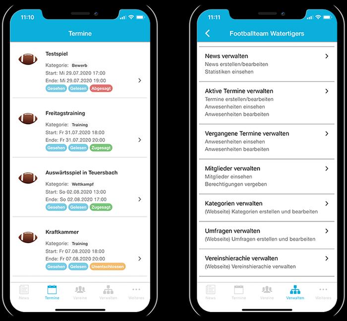 Übersicht der Termine eines American Football Teams und der gesamten Funktionen in der mobilen App