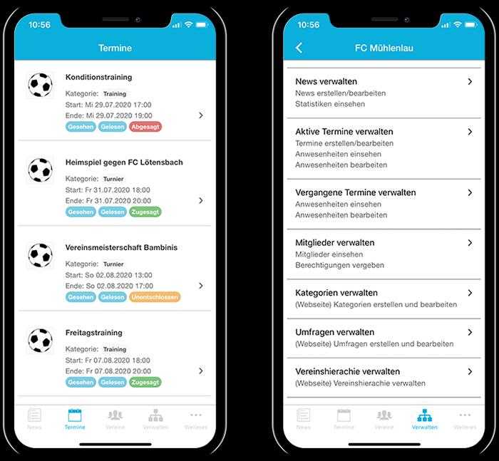 Übersicht der Termine eines Fußballvereins und der gesamten Funktionen in der mobilen App