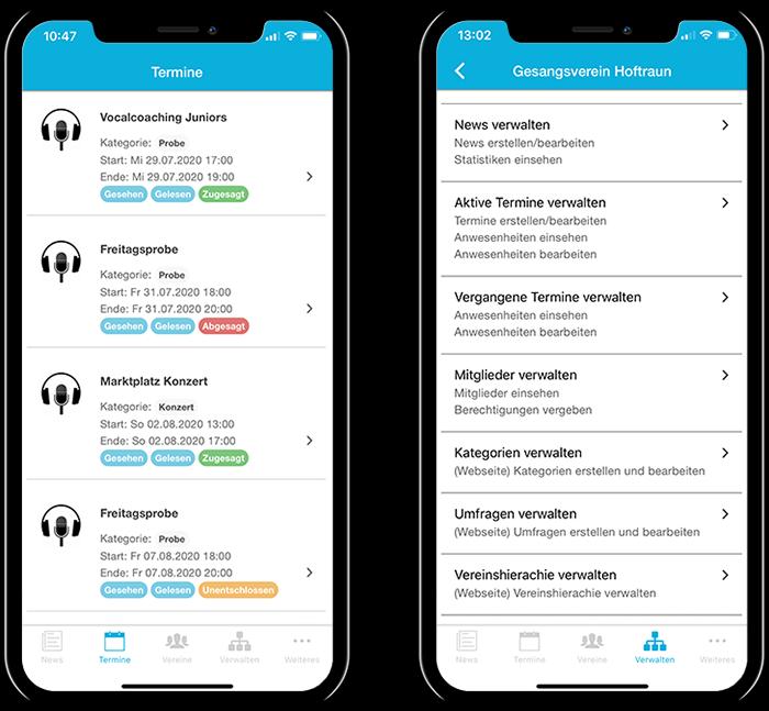 Übersicht der Termine eines Chorvereins und der gesamten Funktionen in der mobilen App