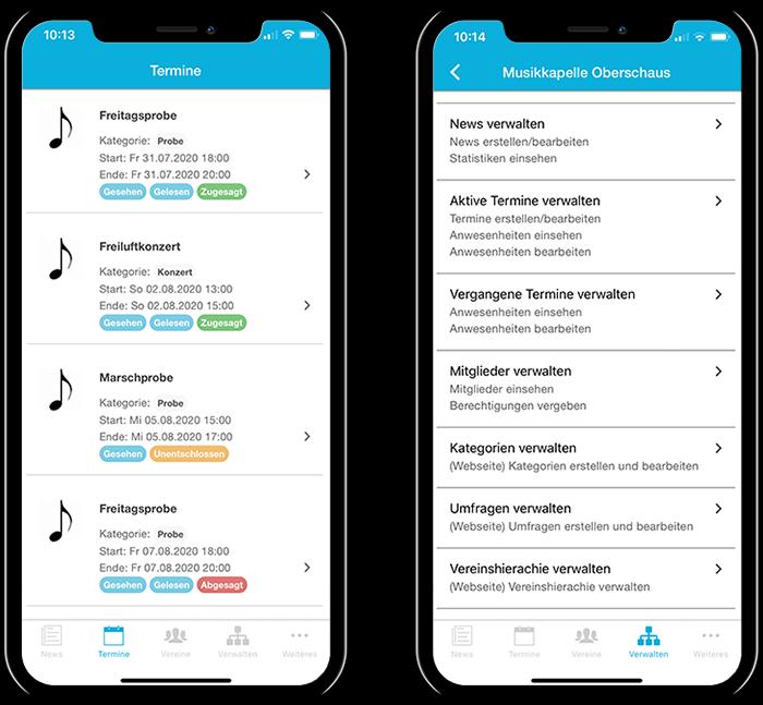 Übersicht der Termine einer Musikkapelle und der gesamten Funktionen in der mobilen App