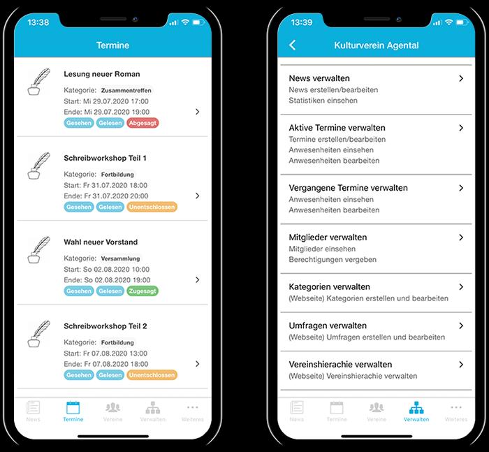 Übersicht der Termine eines Kulturverein und der gesamten Funktionen in der mobilen App
