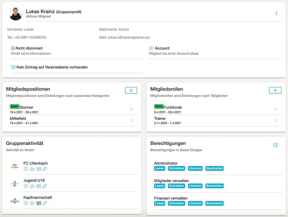 Screenshot Mitgliederverwaltung des Vereinsplaners