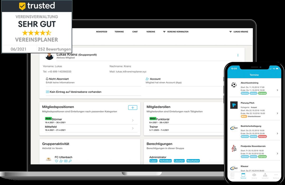 Übersicht der Vereinsplaner Software als Webanwendung und mobiler App