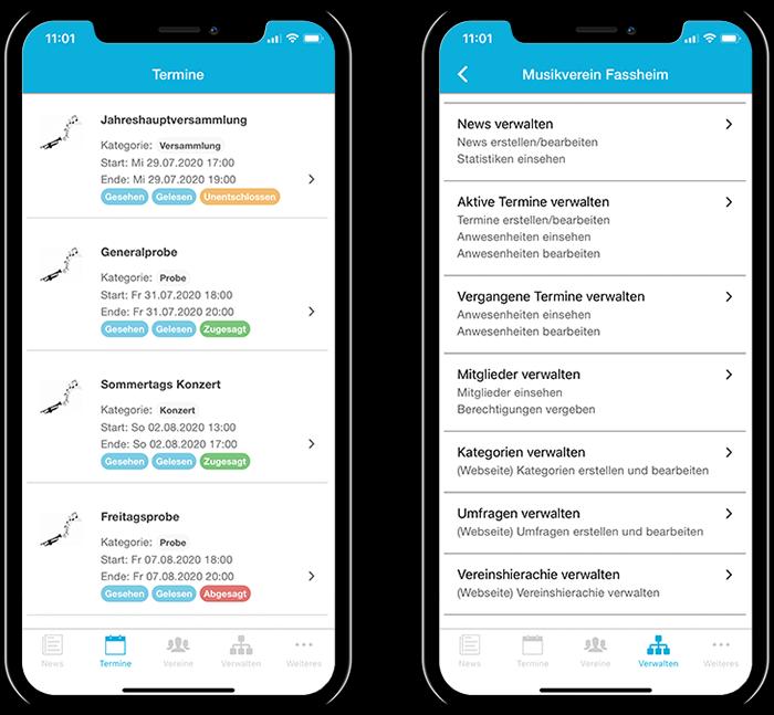 Übersicht der Termine eines Musikvereins und der gesamten Funktionen in der mobilen App
