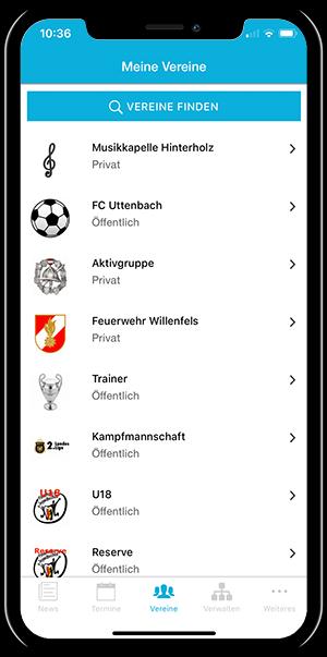 Übersicht der eigenen Vereine in der mobilen App von Vereinsplaner