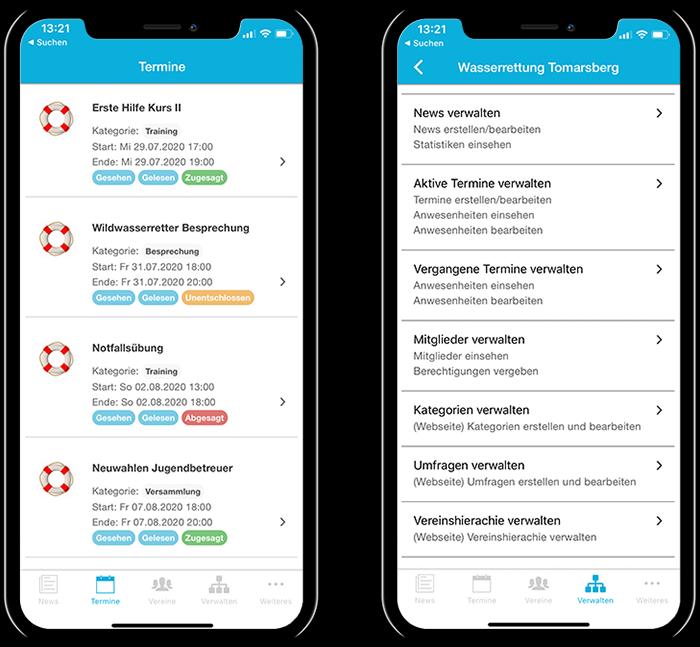 Übersicht der Termine einer Rettungsorganisation und der gesamten Funktionen in der mobilen App