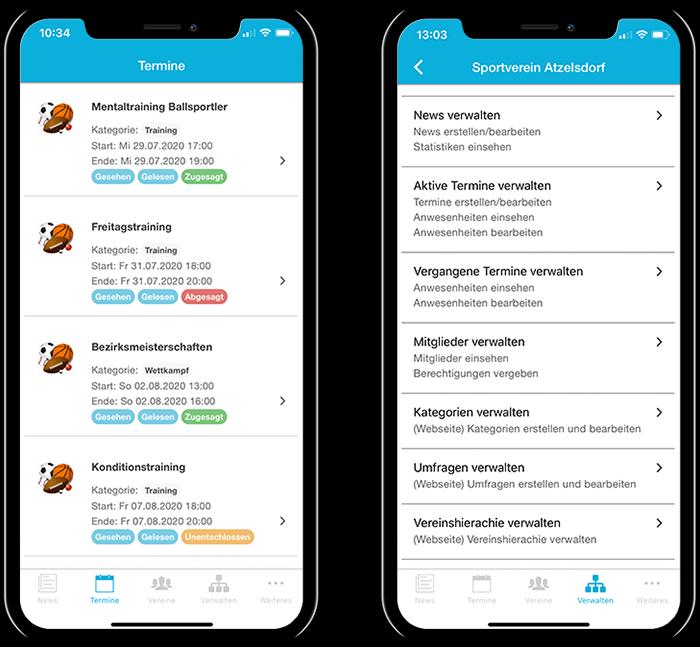 Übersicht der Termine mehrerer Sportvereine und der gesamten Funktionen in der mobilen App