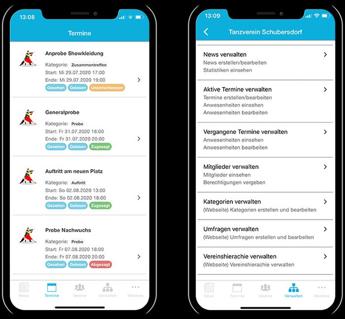Übersicht der Termine eines Tanzvereins und der gesamten Funktionen in der mobilen App
