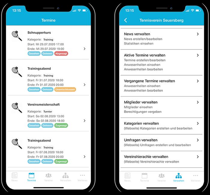 Übersicht der Termine eines Tennisvereins und der gesamten Funktionen in der mobilen App