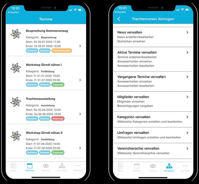 Übersicht der Termine eines Trachtenvereins und der gesamten Funktionen in der mobilen App